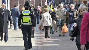 Police officer in Ipswich town centre