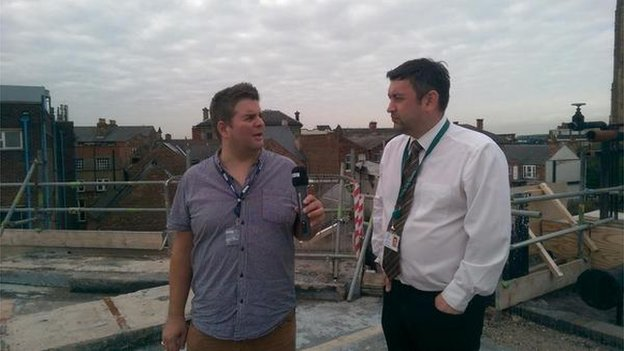 Ian Skye from BBC Radio Derby interviewing Councillor Martin Rawson