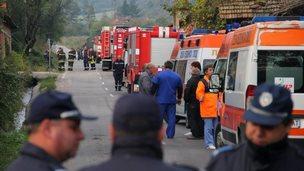Bulgarian emergency services at the scene near Gorni Lom. 2 October