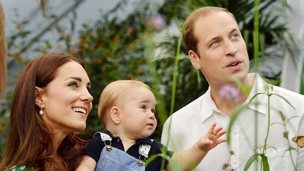 The Duke and Duchess of Cambridge in a posed photograph with Prince George