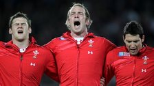 Welsh rugby players Dan Lydiate, Alun Wyn Jones and James Hook