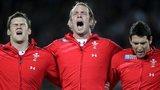 Welsh rugby players Dan Lydiate, Alun Wyn Jones and James Hook