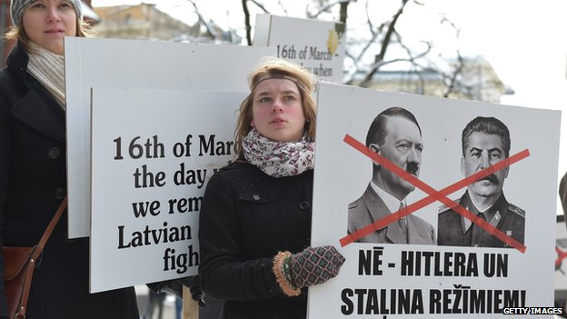 Protesters demonstrate against Latvian Legion