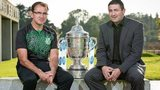Shamrock Rovers boss Pat Fenlon and Derry manager Peter Hutton with the FAI Cup