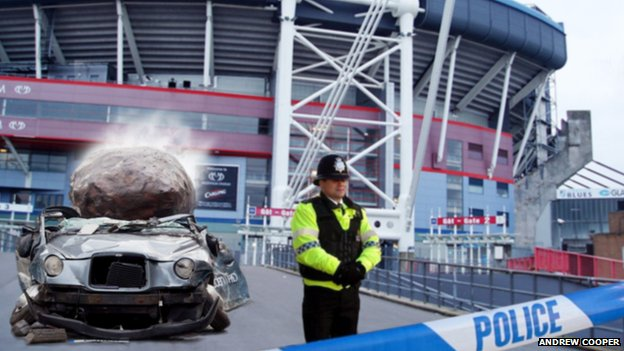 Artist impression of Andrew Cooper's crushed car outside the Millennium Stadium in Cardiff