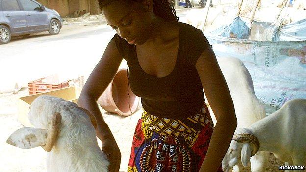 Niokobok's Olivia Douglas prepares a ram for delivery