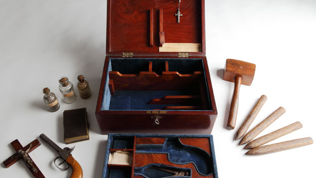 A Victorian vampire kit contains all the necessary equipment for hunting down vampires