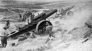 WW1 field gun being fired