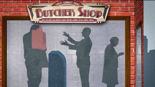 Screen grab of video showing a butcher shop