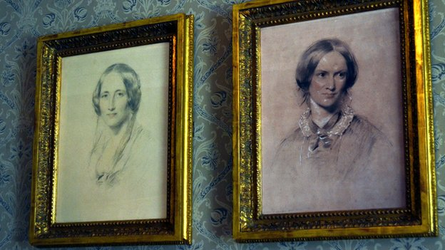 Portraits of Elizabeth Gaskell and Charlotte Bronte on the drawing room wall