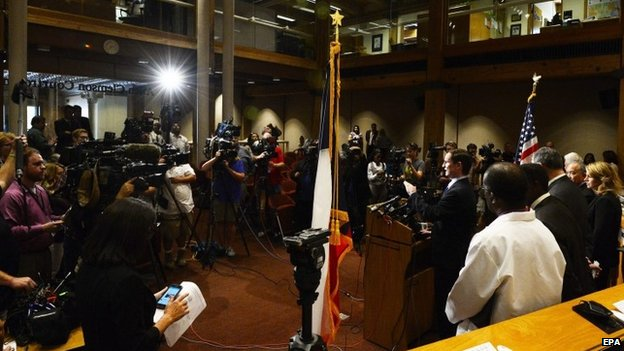 Dallas County Judge Clay Jenkins speaks to the media during a press conference on the status of Ebola patient Thomas Eric Duncan in Dallas, Texas, 2 October 2014