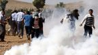 Turkish Gendarmerie use tear gas to disperse Kurdish protestors