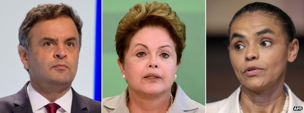 Aecio Neves, Dilma Rousseff and Marina Silva