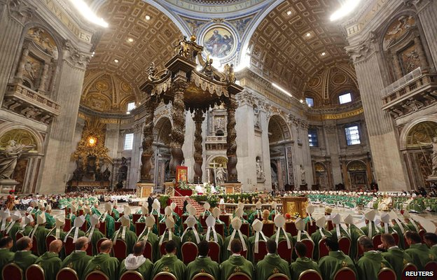 Pope Francis opens the synod with a mass at the Vatican's St Peter's Basilica on Sunday morning 5 October 2014