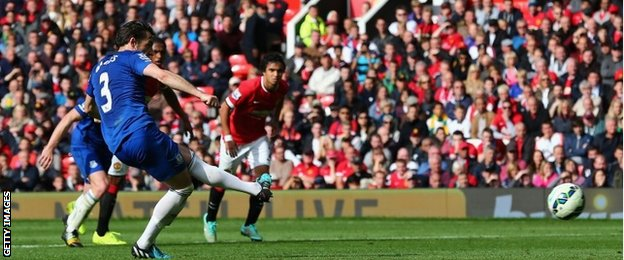Leighton Baines takes his penalty against Manchester United