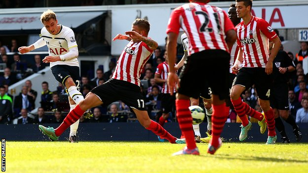 Tottenham playmaker Christian Eriksen (left) rifles in a shot to put his side in front against Southampton