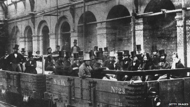 Chancellor of the Exchequer William Ewart Gladstone with directors and engineers of the Metropolitan Railway Company on an inspection tour of the world's first underground line, 24th May 1862. Built between Paddington and the City of London, it opened in January of the following year. Gladstone is seen in the front row, near right.