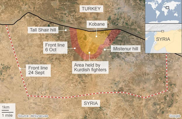 Military fighters closing in on Kobane