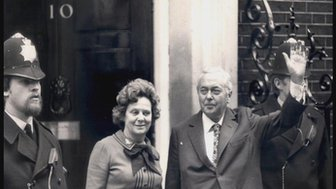 Harold Wilson and his wife Mary outside 10 Downing Street