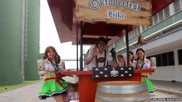 Still from a publicity video featuring an 'Oktoberfest bike'