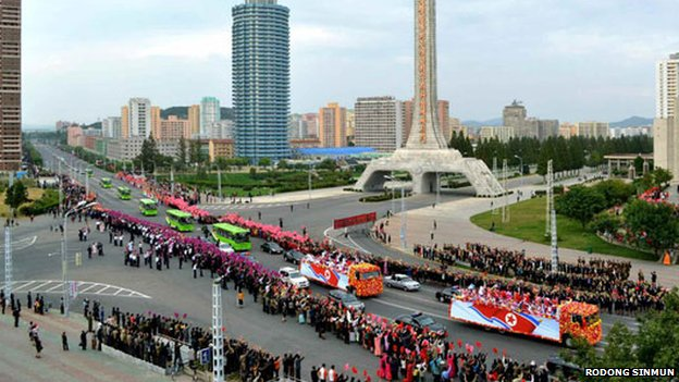 Asian Games athletes on a welcoming parade in Pyongyang
