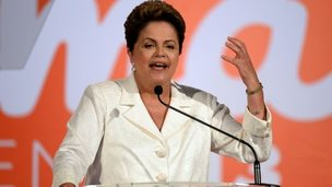 President of Brazil Dilma Rousseff delivers a speech in Brasilia on 5 October 2014