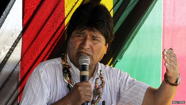 President Evo Morales speaks during ceremony in Cobija, north of La Paz, 30 September 2014