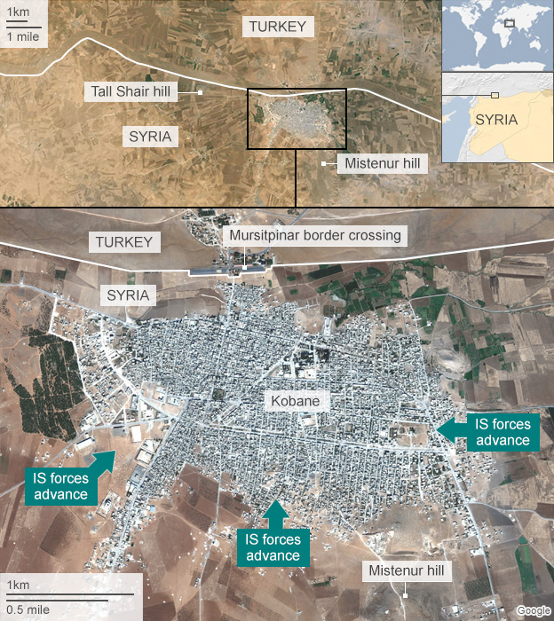 Map of Kobane showing IS advances