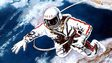 Artwork by Alexei Leonov of his first spacewalk in 1965