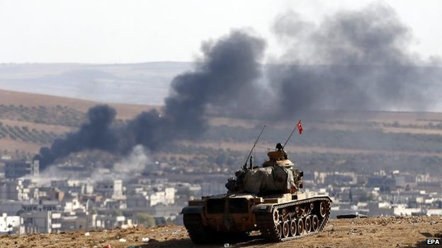 Turkish forces overlook Kobane, 8 Oct