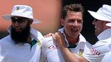 The South Africa cricket team celebrate a wicket taken by bowler Dale Steyn