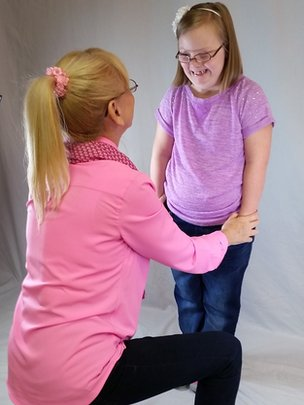 Karen and Maggie on a photoshoot for the Down's syndrome designed clothes