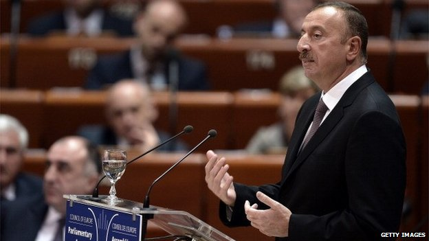 Azerbaijan President Ilham Aliyev delivers a speech to the Council of Europe in Strasbourg, eastern France, on 24 June 2014