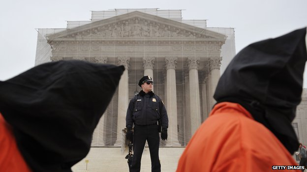 Protestors, shown here at the Supreme Court in 2013, have asked justices for better treatment of detainees