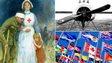 WW1 nurse, plane and international flags