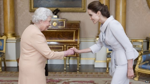 The Queen greets Angelina Jolie