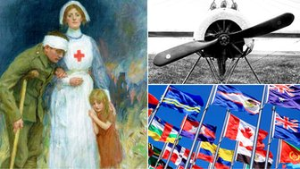 WW1 nurse, plane and international flags