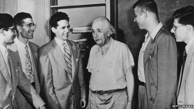 Albert Einstein meets with National Science Foundation postgraduate fellows.