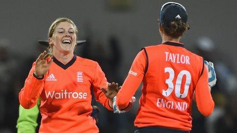 England's Heather Knight and Sarah Taylor