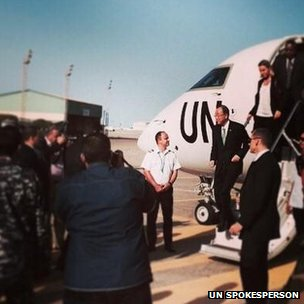 Ban Ki-Moon arrives in Tripoli, 11 October