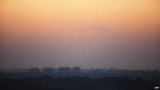 File photo: Rockets being fired by Palestinian militants from the Gaza Strip into Israel, 24 August 2014