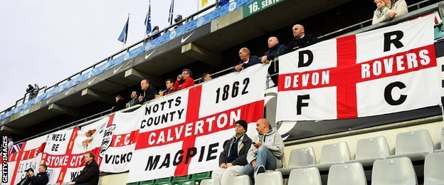 England fans at A Le Coq Arena