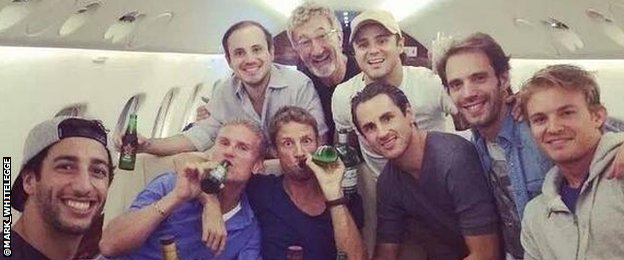 F1 figures (left to right) Daniel Ricciardo, David Coulthard, Jenson Button, Adrian Sutil, Jean-Eric Vergne, Nico Rosberg and (Back row) Dudu Massa, Eddie Jordan, Felipe Massa