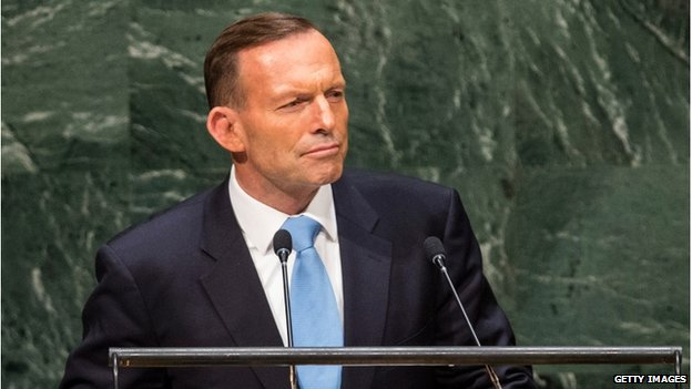 Prime Minister of Australia Tony Abbott speaks at the 69th United Nations General Assembly on 25 September 2014 in New York City