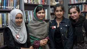 School Reporters Alisha, Kuljeet and Sahira from Handsworth Wood Girls school with Malala