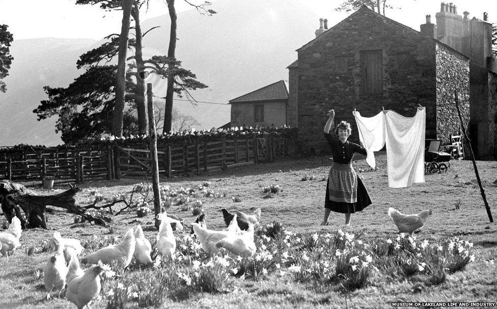 Woman with chickens
