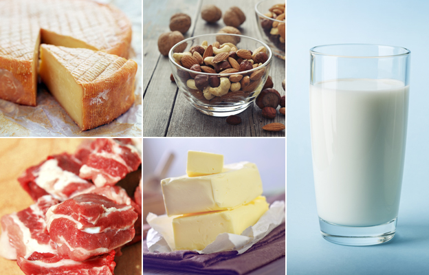 Cheese, nuts, milk, butter, red meat