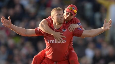 Andrew Flintoff playing for Lancashire