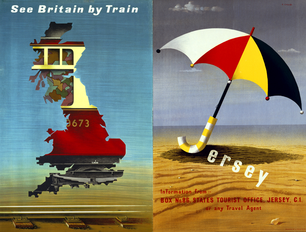 Advertisements by Abram Games. Advertisements by Abram Games See Britain by Train (1951) / Jersey (1951) (Copyright: Estate of Abram Games / Jersey Tourism)