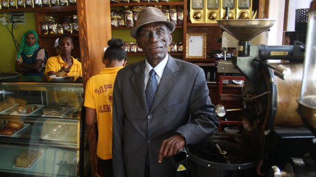 Getachew Woldetsadick, Alem Bunna's marketing manager, inside the cafe on Bole Road in Addis Ababa